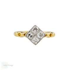 French Cut Antique Diamond Engagement Ring, Kite Shape Diamond Cluster Ring. Circa 1910s.