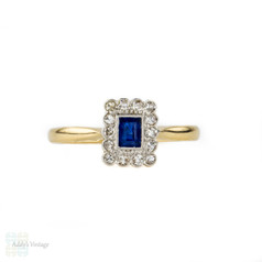 Art Deco Sapphire & Diamond Engagement Ring, Rectangle Sapphire in Diamond Halo. 1920s, 18ct & Platinum.