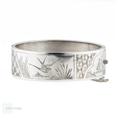 Antique Victorian Diving Swallow Bracelet, Sterling Silver Ship & Sailors Theme Bangle. Circa 1880s.