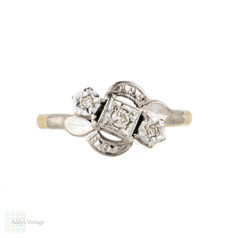 Art Deco Three Stone Diamond Engagement Ring, Crossover Style with Engraving. Circa 1930s, 18ct & Platinum.