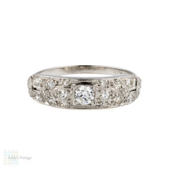 Ornate 1920s Platinum Diamond Ring, Old European Cut Diamond Band. 0.40 ctw.