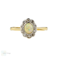 Edwardian Opal & Diamond Ring, Cabochon Cut Opal wtih Scalloped Edge Diamond Halo. 18ct & Platinum.
