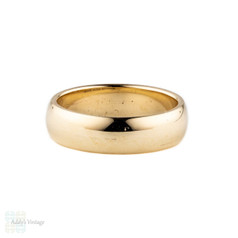 9ct Men's Wedding Ring, Wide 9k Yellow gold Wedding Band. Circa 1970s, Size P / 8.