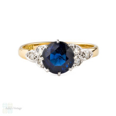 Vintage Engagement Ring, Lab Created Sapphire with Leaf Shape Diamond Accents. 18ct Gold & Platinum.