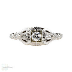 Art Deco Diamond Engagement Ring, Old European Cut in Fluted 18k Engraved Setting.