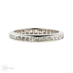 Antique French Cut Diamond Eternity Ring, Channel Set Platinum Wedding Band. Circa 1900, Size N.5 / 7.