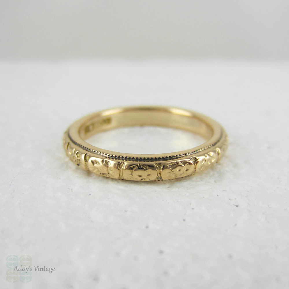 ring annivery antique band plain filigree hollow wedding yellow gold open rings gap