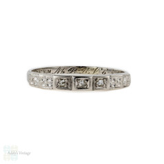 Rose Cut Diamond Wedding Ring, Art Deco Three Stone Diamond Ring Engraved with Flowers. Platinum, Circa 1930s.