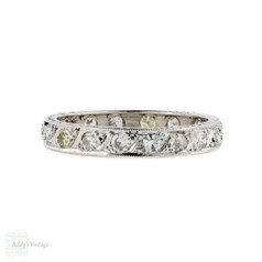 Art Deco Diamond Eternity Ring, 18ct White Gold Engraved Diamond Band. Size M / 6.25.