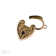 Engraved Antique Heart Padlock, 9ct Gold Heart Clasp Charm, Circa 1900.