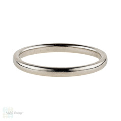 Platinum Vintage Wedding Ring, Slender D Shape Profile Lades Band.  Size P.5 / 8.