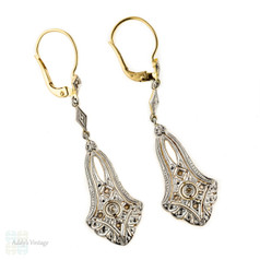 Antique Diamond Drop Earrings, Edwardian Rose Cut Engraved Fan Dangles. 18ct Yellow Gold & Platinum.