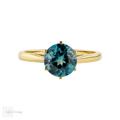 Blue Zircon Soliatire Ring, Vintage 18ct Yellow Gold Single Stone Engagement Ring.