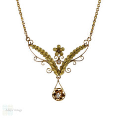 Art Nouveau Laurel Diamond Necklace, Antique 14k Two Tone Gold Floral Pendant.