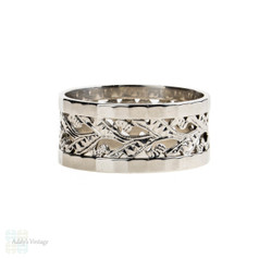 Wide 9ct White Gold Wedding Ring, Floral Design 9k Band. Circa 1960s, Size P.5 / 8.