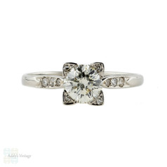 Art Deco Diamond Engagement Ring, Brilliant Cut Diamond in Square 18k & Platinum Mounting.