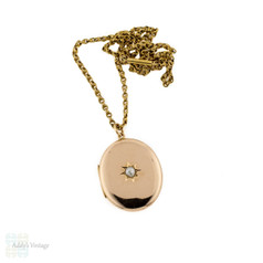 Antique 15ct Gold Locket Inset with Cultured Pearl, Edwaridan 15k 1900s Pendant.