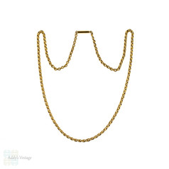 Antique 15ct Gold Chain, Ridged Fancy Link Design 15k Gold Chain. Circa 1900, 48 cm / 19 inches.