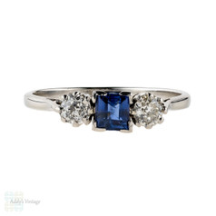 Sapphire & Diamond Engagement Ring, Three Stone Circa 1910s Antique Platinum Ring.