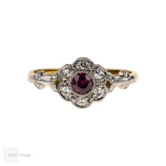 1930s Ruby & Diamond Engagement Ring, Fluted Floral Shape Cluster Ring. 18ct & Platinum.