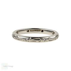 Engraved Diamond Set Platinum Ladies Wedding Ring by Charles Green. Size I / 4.5.