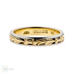 Engraved Floral Wedding Ring, Vintage Two Tone 18ct Yellow Gold & Platinum Band. Size M / 6.25.