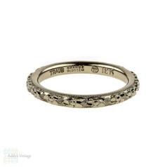 1930s Engraved Wedding 18k Ring, Orange Blossom Traub 18ct White Gold Orange Band. Size H / 4.