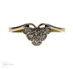 Antique Fan Diamond Ring, Crown Shape with Scalloped Edges. Circa 1910, 18ct & Platinum.