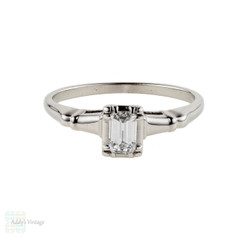 Emerald Cut Diamond Engagement Ring, Vintage 14k White Gold Single Stone in Fluted Setting.