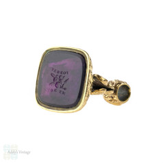 Large Antique Gilt Seal, Victorian Amethyst Paste Forget Me Not Watch Fob.