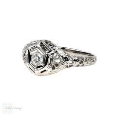 Art Deco Filigree Diamond Engagement Ring, Old European Cut Diamond, Engraved 18k White Gold.