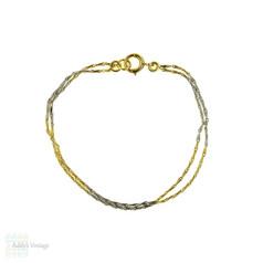 Antique 18ct & Platinum Bracelet, Converted French Fancy Barley Link 18k Chain.