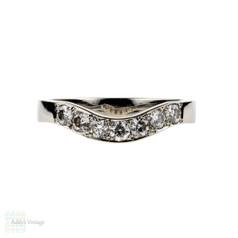 Curved Platinum Diamond Wedding Ring, Seven Stone Wishbone Shaped Bead Set Band. Size J / 4.8.