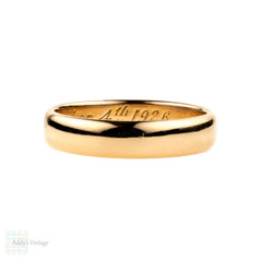 1920s Ladies 22ct Gold Wedding Ring, 4mm D Shape Women's Band. Size L / 5.75.