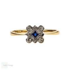 French Cut Sapphire & Diamond Square Panel Ring. Art Deco, 18ct & Platinum.