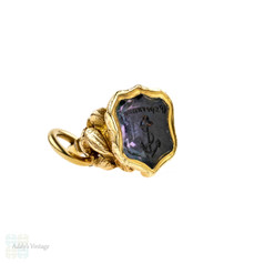 "Victorian 15ct Gold Anchor & Bird Watch Fob, ""Esperanza"" Hope Amethyst Seal."
