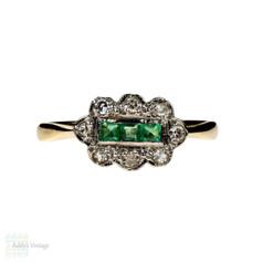 Emerald & Diamond Engagement Ring, Antique 1910s Cluster Ring in 18ct & Platinum.