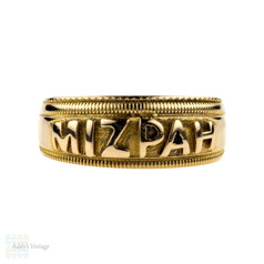 Victorian Mizpah 18ct Ring, Antique 18k Yellow Gold with Beaded Edge. Chester 1890s.