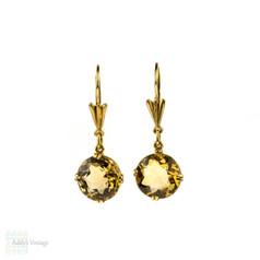 Vintage Citrine Drop Earrings, Mid Century 18ct 18k Yellow Gold Dangle Earrings.