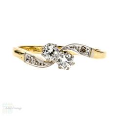 Toi et Moi Diamond Engagement Ring, Stylish Bypass Design Ring. 1930s, 18ct Gold & Platinum.
