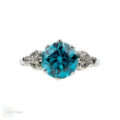 Vintage Blue Zircon & Diamond Ring. 18ct White Gold, Old Cut Diamonds. Circa 1950s.