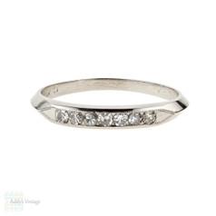 Art Deco Platinum Diamond Wedding , 7 Stone 1930s Half Hoop Knife Edge Band.