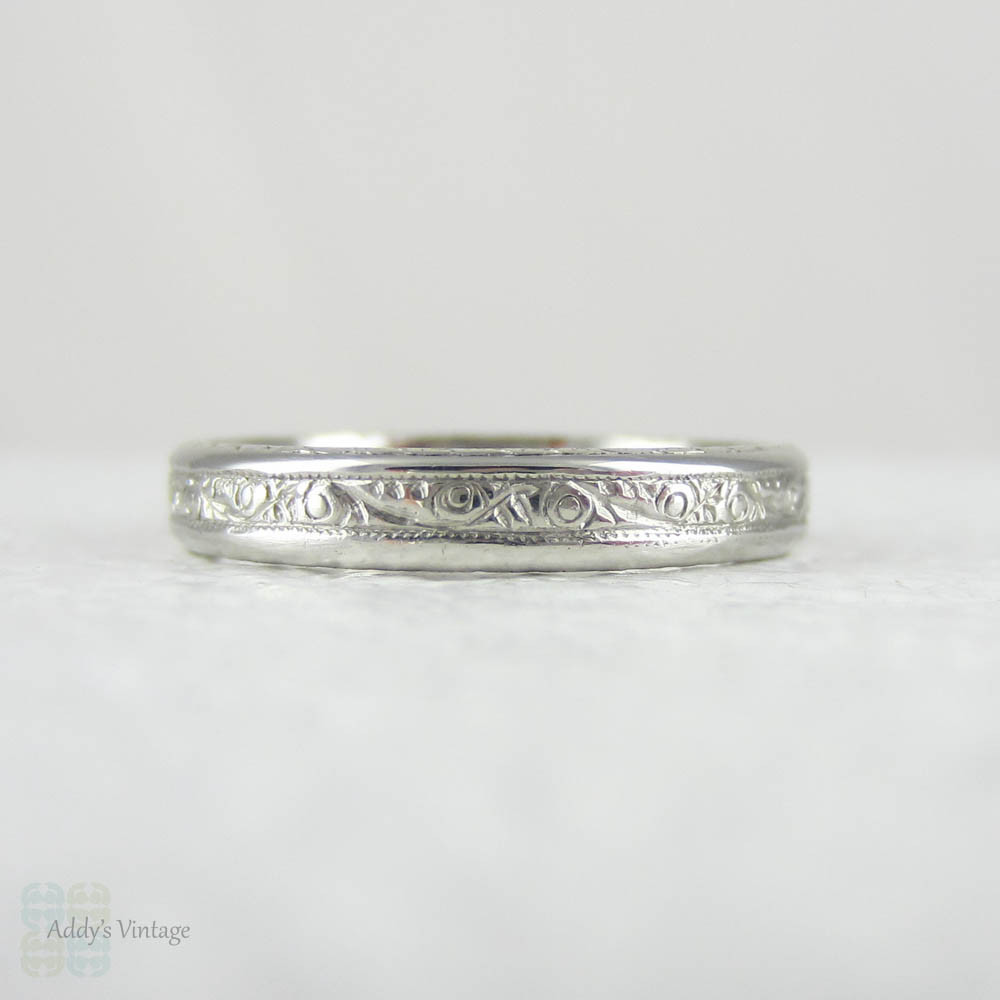 london engraved platinum ring pattern patterned wedding antique paisley in bands band