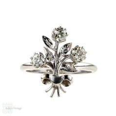 Old Mine Cut Diamond Floral Spray Cocktail Ring. 18ct White Gold & Platinum Dress Ring.