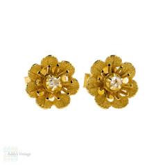 Antique Rose Cut Diamond Flower Earrings, 14k Yellow Gold Pierced Studs.