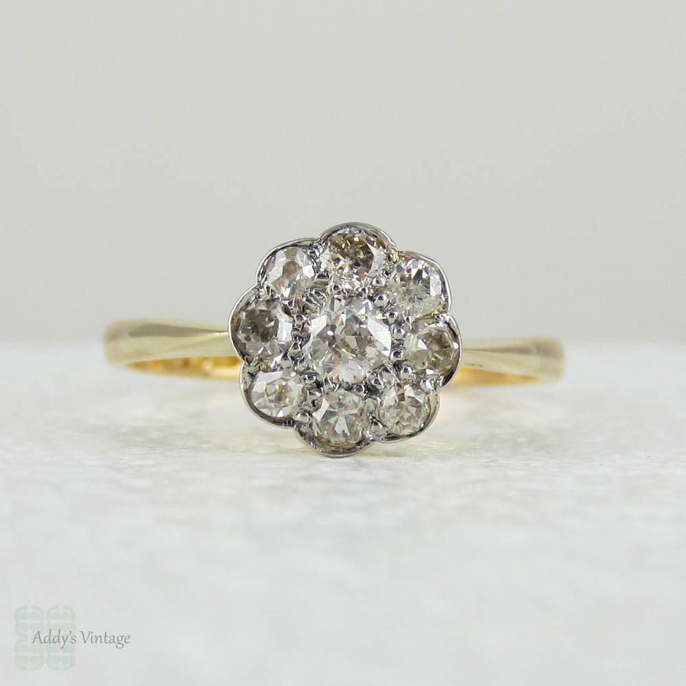 Antique Old Mine Cut Diamond Daisy Cluster Engagement Ring