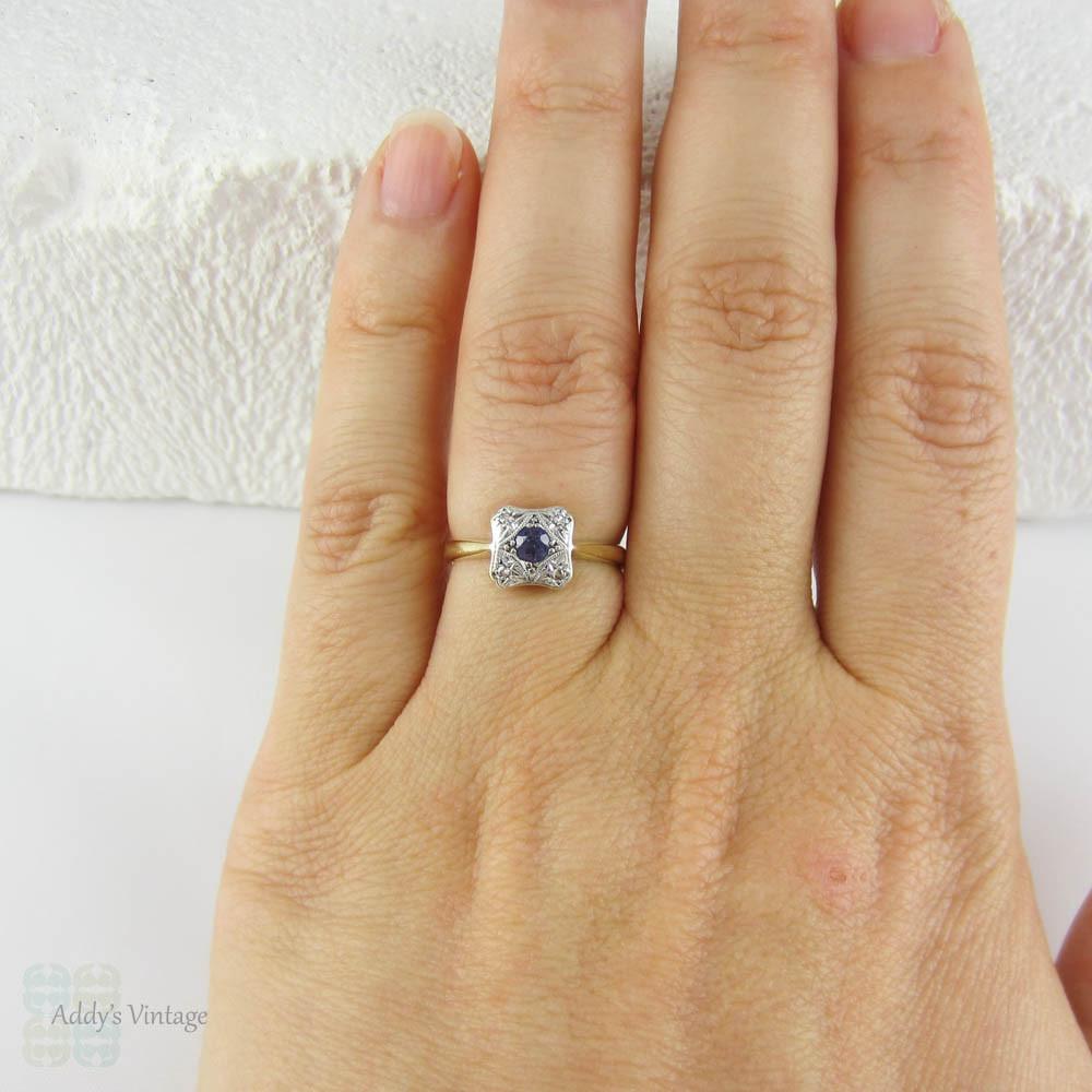 Vintage Sapphire Amp Diamond Engagement Ring Blue Sapphire