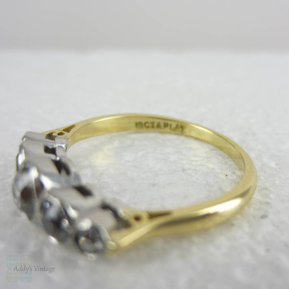Yellow Gold Diamond Platinum: Antique Five Stone Old Mine Cut Diamond Engagement Ring