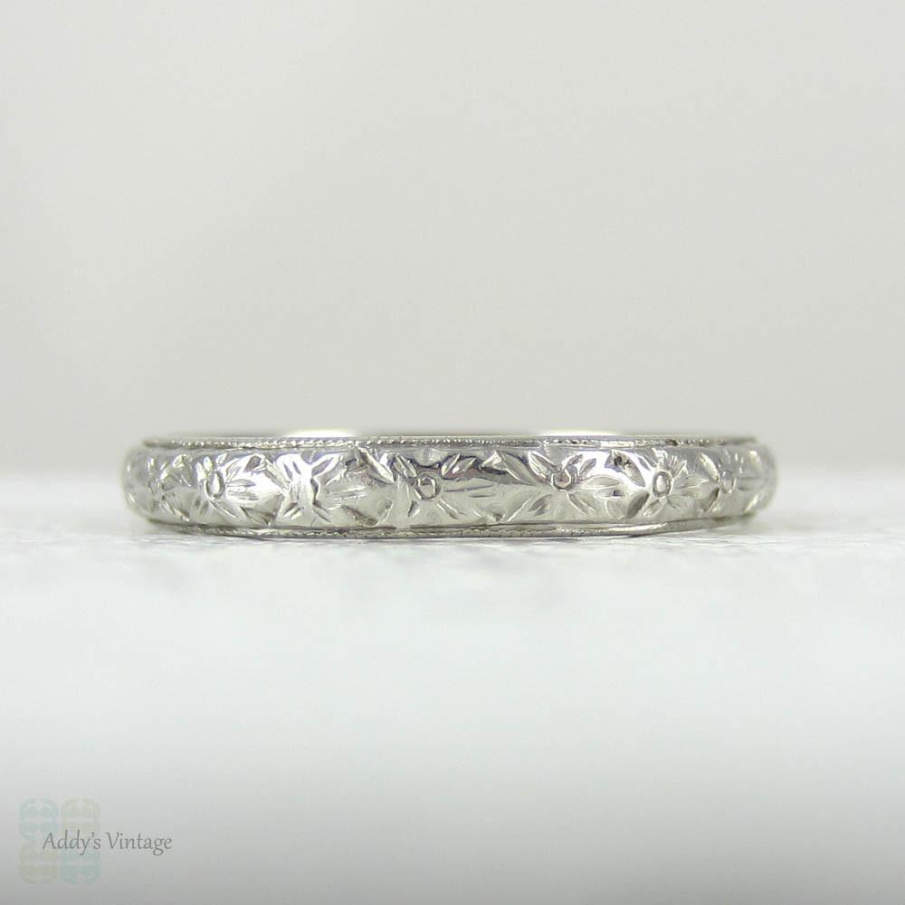 Antique Platinum Wedding Ring, Engraved Floral Design