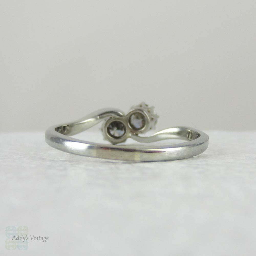 Wedding Ring Resize: Art Deco Diamond Engagement Ring. Two Stone Toi